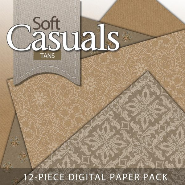 Digital Scrapbook Papers - Shabby Tans