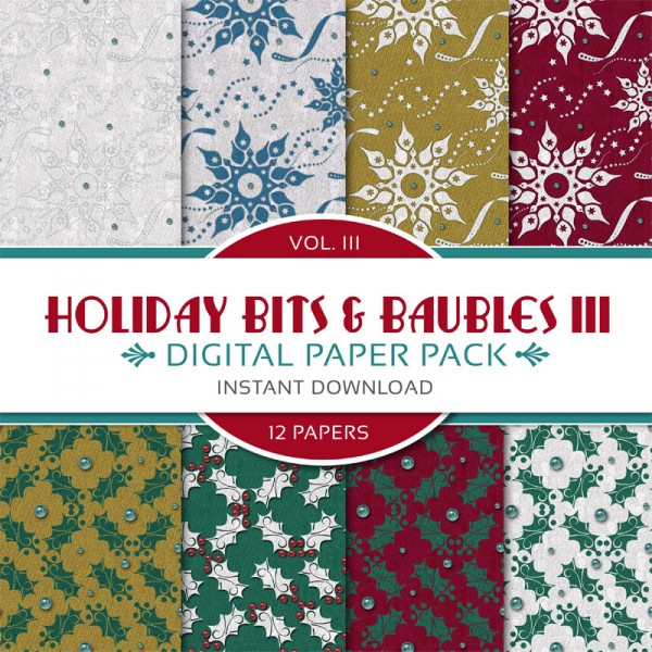 Digital Scrapbooking Papers - Holiday Bits & Baubles III