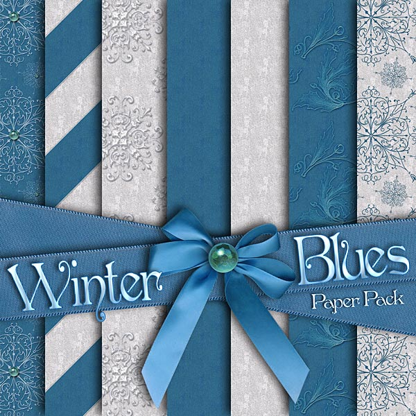 Christmas Collection Christmas Content Bundle Products Digital Scrapbook Kits Digital Scrapbook Papers Holiday Collection Winter Blues Digital Scrapbooking Papers