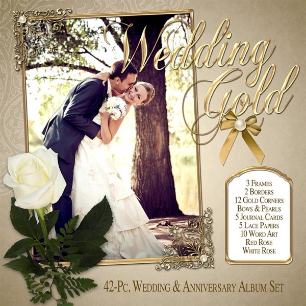 Digital Scrapbooking Kits - Wedding Gold