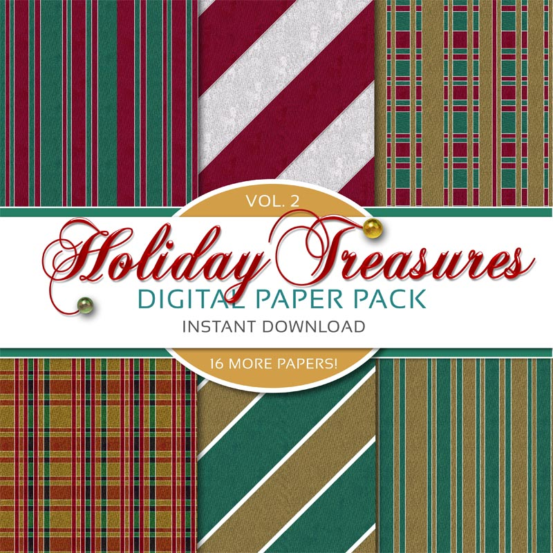 Christmas Scrapbook Paper.Holiday Treasures Vol 2 Digital Christmas Paper Pack Expansion