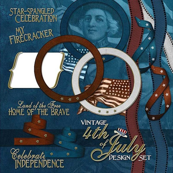 Digital Scrapbooking Kits - Vintage 4th of July