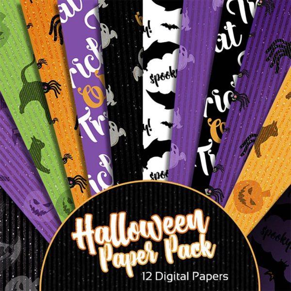 Digital Scrapbooking Papers - Halloween Glitter Extra Paper Pack