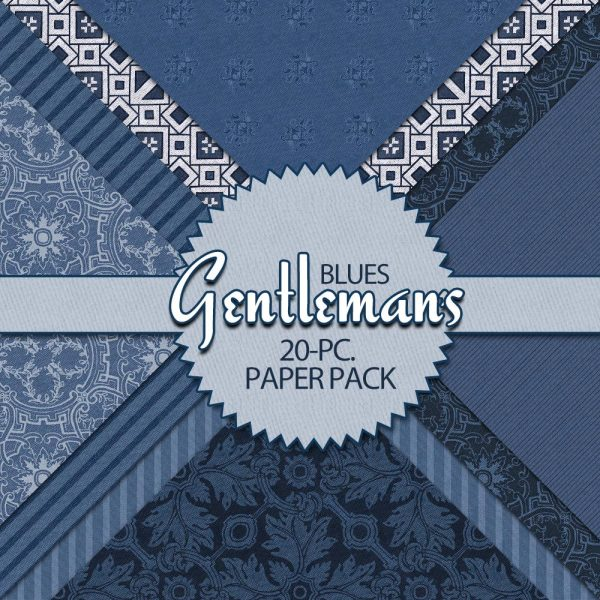 Digital Scrapbook Papers - Gentleman's Blues