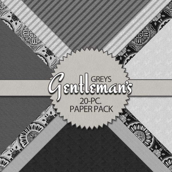 Digital Scrapbook Papers - Gentleman's Greys