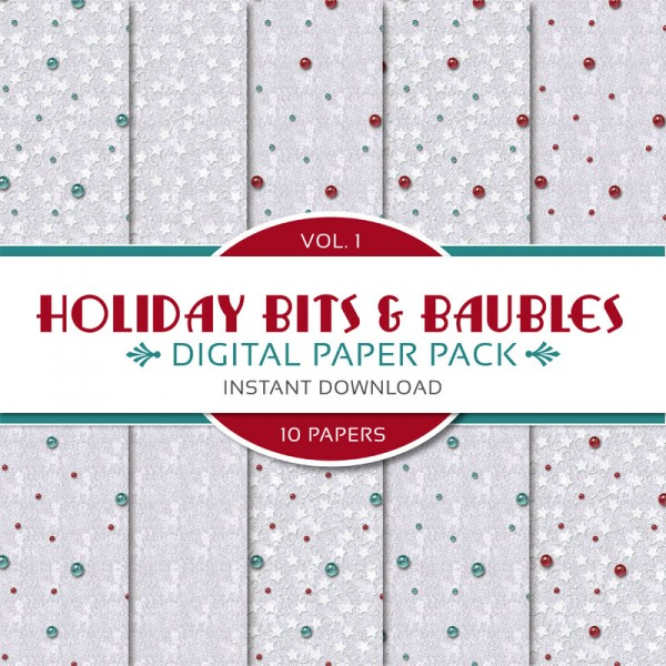 Digital Scrapbooking Papers - Holiday Bits & Baubles I