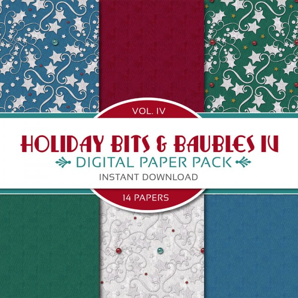 Digital Scrapbooking Papers - Holiday Bits & Baubles IV