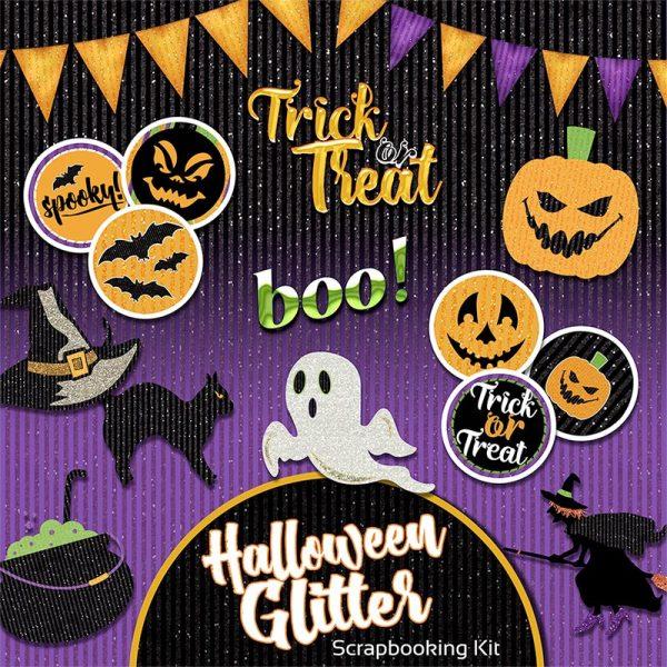 Digital Scrapbooking Kit - Halloween Glitter