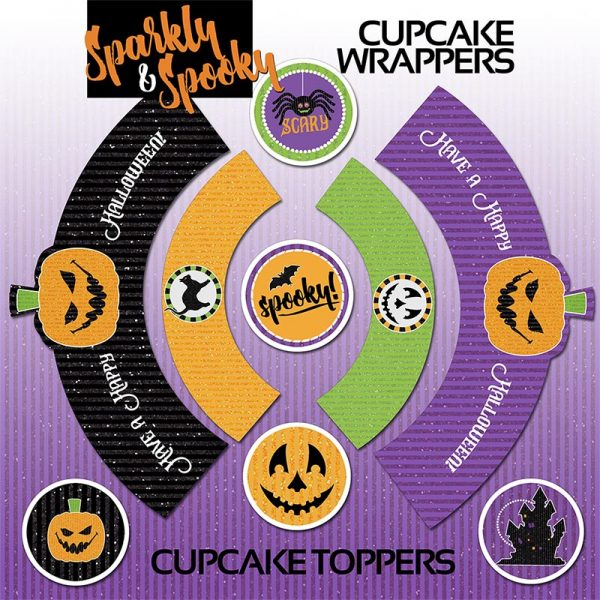 Party Printable - Halloween Cupcake Toppers, Wrappers and Straw Flags