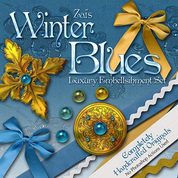 Digital Scrapbooking Kits - Winter Blues Embellishments
