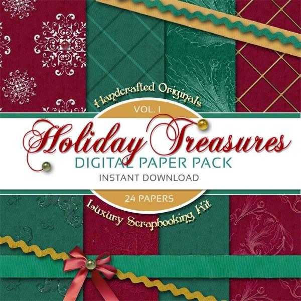 Digital Scrapbooking Papers - Holiday Treasures Volume 1