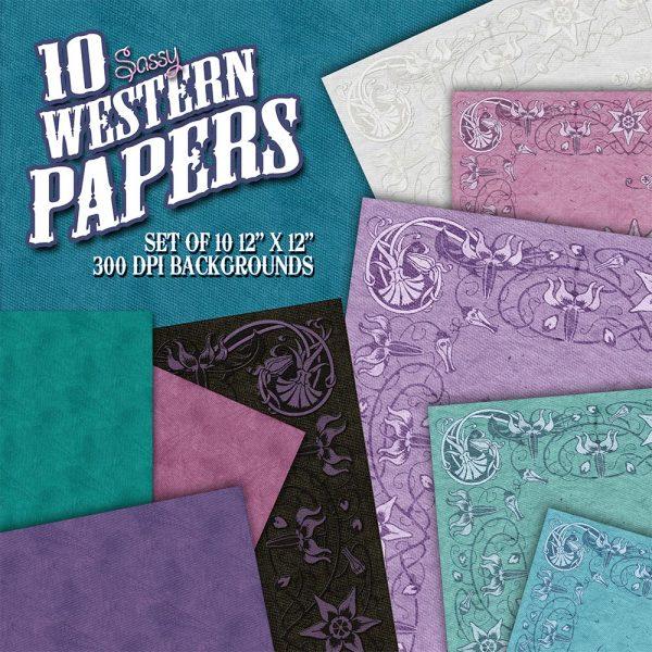 Digital Scrapbook Papers - Sassy Western Papers